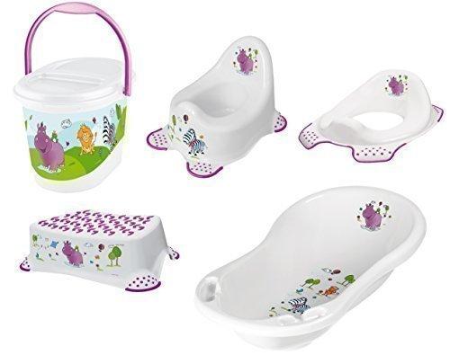 5er Set Hippo weiß Badewanne XXL + Topf + WC Aufsatz + Hocker + Windeleimer
