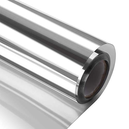 (HALBH One Way Window Film,Home Heat Insulation Film Glass Decorative Removable Sticker Easily Installation Anti- Glare Film Silver,23.6