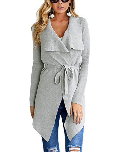 PRETTYGARDEN Women's Open Front Long Sleeve Raw Cut Hem Waterfall Collar Irregular Trench Coat Cardigan with Belt (Grey, ()