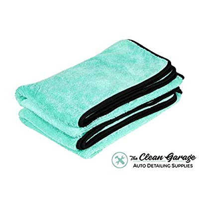 The Clean Garage 2 Pack: Ultra Plush Twist Loop Car Drying Towel Mint Green | 35
