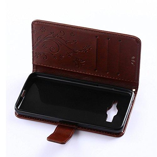 COOLKE Retro Mariposas Patrón PU Leather Wallet With Card Pouch Stand de protección Funda Carcasa Cuero Tapa Case Cover para Samsung Galaxy Grand Prime - Azul marrón