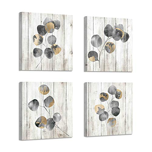 Leaf Canvas Prints Wall Art: Botanical Plant Leaves with Wooden Texture Painting Artwork for Bedrooms Kitchen (16
