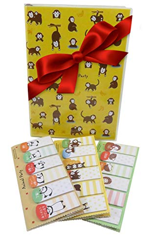 Kawaii Panda Hedgehog Monkey Page Index Markers Stickers (Total of 270) with Bonus Monkey Notebook Journal Diary Ruled Pages - Great 4 Piece Stocking Stuffer