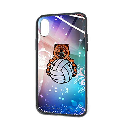 Volleyball Team Tiger Logo iPhone Xs TPU Glass Phone Case Anti-Scratch Shock Absorption Cover Case