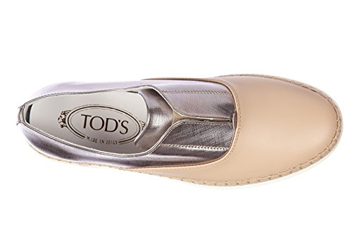 Tod's slip on femme en cuir sneakers caoutchouc Rafia francesina argent