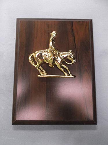 6 x 8 Horse Plaque Cherry Finish Wood Board cast Metal Cutting Horse Relief ()