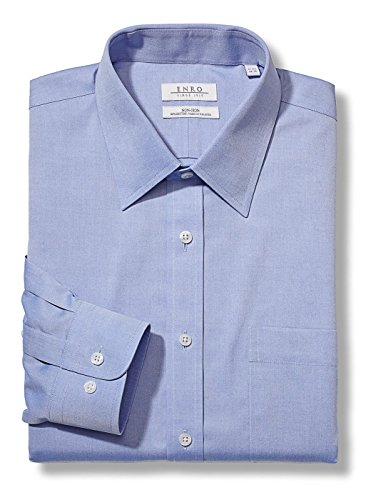 Enro Men's Pinpoint Solid Dress Shirt (Medium Blue, ( 15.5 x 34/35 ) Enro Pinpoint
