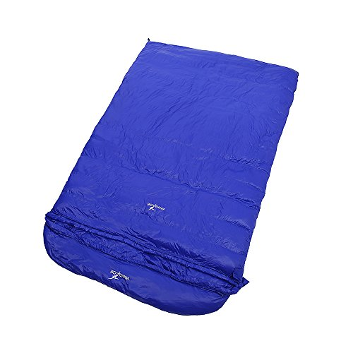 -30 Degree Duck Down Double Sleeping Bags ,3000g Fill, Winter, Envelope, Ultralight, with Compression Sack (Blue)