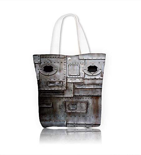 Ladies canvas tote bag Door reusable shopping bag zipper handbag Print Design W12xH14xD4.7 ()