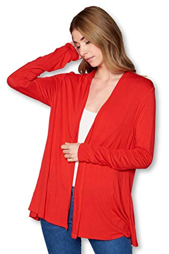 Antimicrobial Long Sleeve Jersey - Soft Bamboo Open Front Solid Long Sleeve Cardigan Sweater for Women -Made in USA (Small, Tomato Red)
