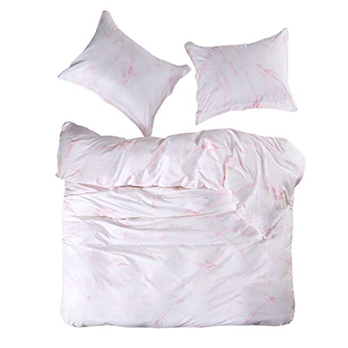 Wake In Cloud – Pink Marble Duvet Cover Set, 100% Cotton Bedding, Pink and White Modern Pattern Printed, with Zipper Closure (3pcs, Queen Size)