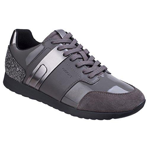 Geox Womens/Ladies Deynna Metallic Glitter Sneakers (8 US) (Dark Gray)