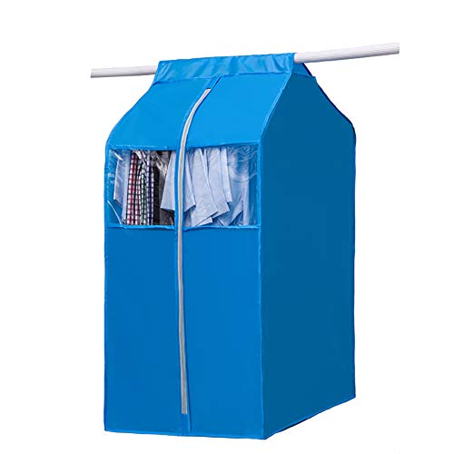 Large Hanging Clothing Storage Wardrobe, Frameless 420 D Oxford Garment Closet Organizer Protector, Zippered Garment Bag with Magic Tape and Clear Window(Rose Blue, M:19.7x23.6x36.6inch)