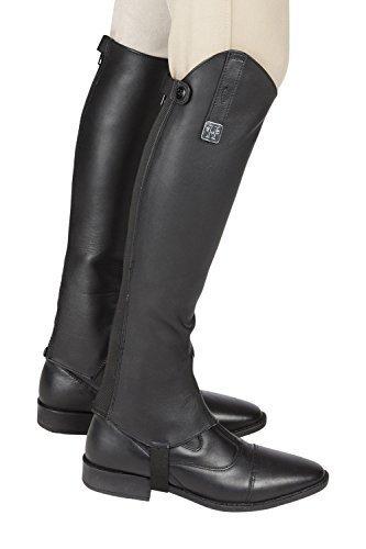 Huntley Equestrian Custom Fit Premium Leather Half Chaps, Black, Small
