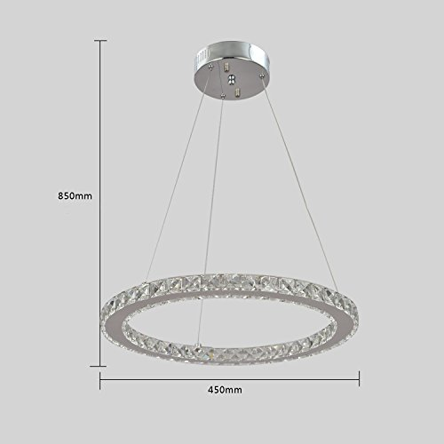 UNITARY BRAND Modern Crystal Nature White LED Pendant Light With 1 Unique Ring Max 20W Chrome Finish