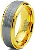 Charming Jewelers Tungsten Wedding Band Ring 8mm Men Women Comfort Fit 18k Yellow Gold Grey Step Bevel Edge Brushed Polished Size 8