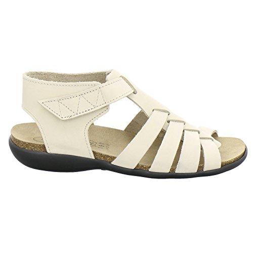 AFS-Schuhe 254411, Sandale Damen, Hochwertiges, Echtes Leder, mit Klettverschluss, Made in Germany Beige