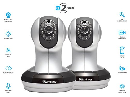 Vimtag VT-361 Indoor HD, IP/Network, Wireless, Video Monitoring, Surveillance, Security Camera, Plug/Play, Pan/tilt with Two-Way Audio and Night Vision 1080P (Best Fuji Ip Cameras)