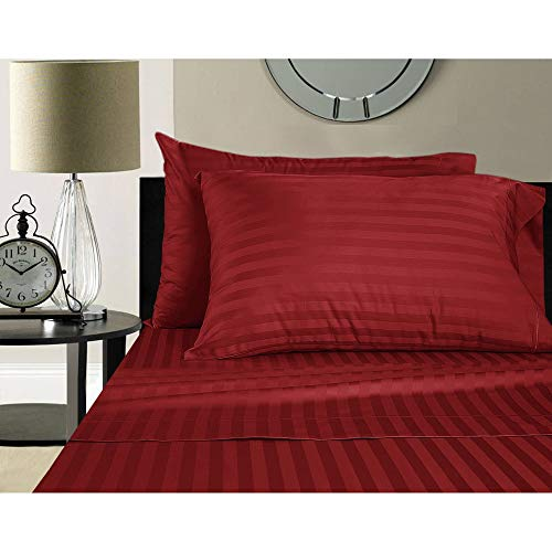 Addy Home Fashions Luxury Egyptian Cotton Sateen 500 Thread Count Extra Deep Pocket Damask Stripe Sheet Set Twin ()