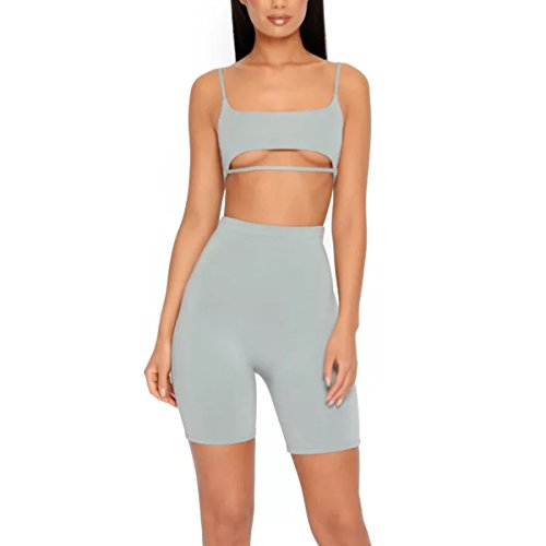 LUFENG Women's Suit Two Pieces Set Sexy Sleeveless Strapless Crop Top and Shorts Set Grey S 2 Piece Boutique Outfit