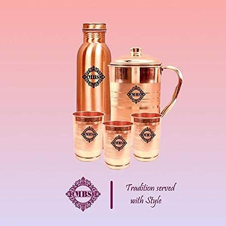 MBS Set of 1 Pure Copper Jug (1500ml), 1 Copper Bottle (1000ml) & 3 Copper Glasses (300ml Each)