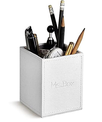 Ms.Box PU Leather Square Pens Pencils Holder Desk Organizer Pencil Cup Pen Pot with Removable Dividers, White, 3.3 x 3.3 x 3.9 (Divider Pencil)
