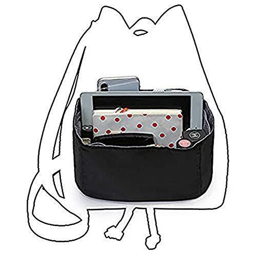 IN Bag in Bag Organizer Insert for Drawstring Bucket Bag Handbag Organizer Multi-Pocket Black