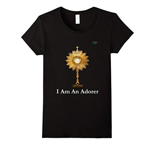 Womens Eucharistic Adoration - Premium Quality -T-Shirt - XL Black