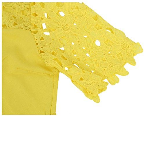 Collo Chiffon Donne Cavo S bianca Manica R giallo Camicia Pizzo Corto SODIAL equipaggio Camicetta Top 8qSvtg5