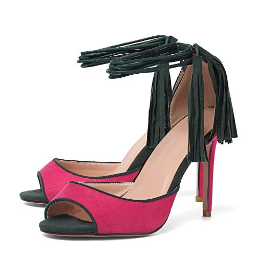 Women's Dress Sandals, Fashion High Heels, Fringed Lace-up Sandals Red Fashion Evening Dress Size 10 ()