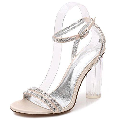 L@YC Zapatos De La Boda De Las Mujeres F2615-5 Seda Del Dedo Del Pie abierto De Cristal Con Tacones/Bola SintéTicos Del Diamante Champagne