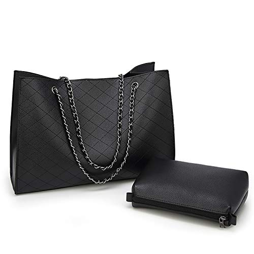 Quilted Handbags for Women Large Chains Tote Shoulder Bags with Zipper Pouch (Black) ()