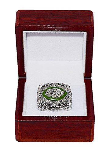 PHILADELPHIA EAGLES (Donovan McNabb) 2004 NFC WORLD CHAMPIONS (Super Bowl XXXIX) Rare & Collectible Replica National Football League Silver NFL Championship Ring with Cherrywood Display Box