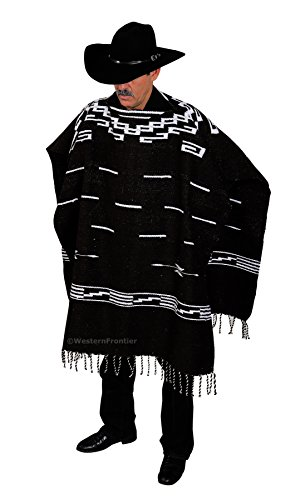El Paso Designs Handwoven Clint Eastwood Spaghetti Western Poncho Made in Mexico (Black)