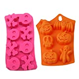TraderPlus 2-Pack Silicone Halloween Ghost Pumpkin Chocolate Mold Baking Mould Set