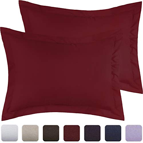 """Mellanni Pillow Shams Set of 2 Standard Size - Silky Soft and Hypoallergenic Double Brushed Microfiber Decorative Pillow Covers/Cases 20"""" x 30"""" with 2"""" Flange - (Set of 2 Standard Size, Burgundy)"""