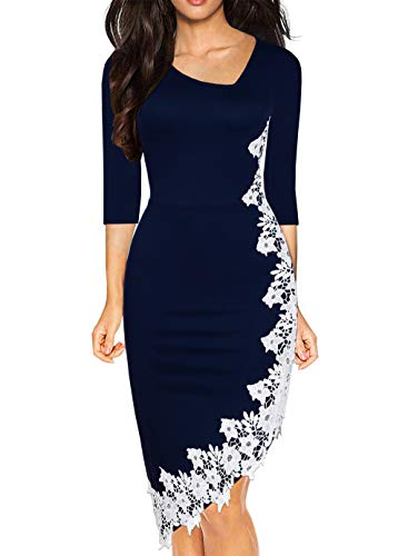 Drimmaks Women's Classy Pencil Party Dress 3/4 Sleeve Stretchy Irregular Hem with White Lace Sheath Dresses (023-Navy 3/4, L)
