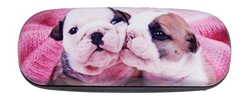 Adorable English Bulldog Puppy (Hard Shiny Eyeglass Case Adorned With Photo Of Adorable English Bulldog Puppies)