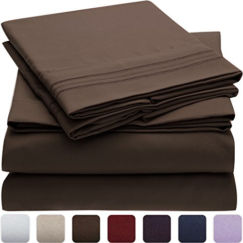 Mellanni Bed Sheet Set - HIGHEST QUALITY Brushed Microfiber 1800 Bedding - Wrinkle, Fade, Stain Resistant - Hypoallergenic - 4 Piece (Full, Brown)