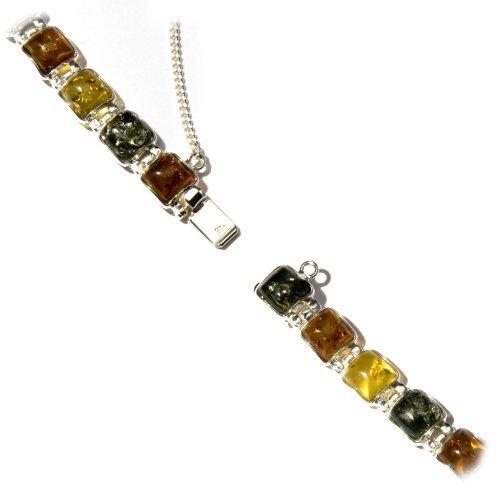 Noda Bracelet avec pierres carrées Ambre multicolore Argent sterling 18 cm