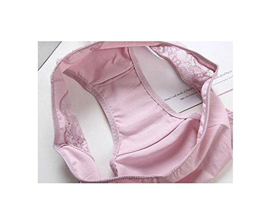 POKWAI Mujer Ultra-cómoda Ropa Interior Calzoncillos De Algodón Entrepierna De Algodón Bajo Atractivo Del Cordón De La Cintura De La Cadera Del Paquete 4 A5