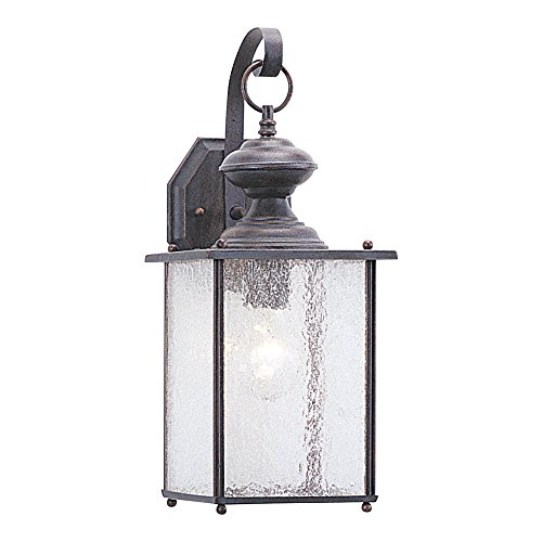Sea Gull Lighting 8882-08 Jamestowne One-Light Outdoor Wall Lantern with Clear Seeded Glass Panels, Textured Rust Patina Finish
