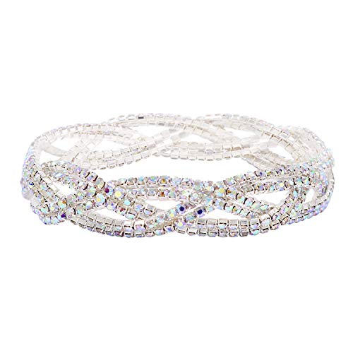 (So Pretty Rhinestone Stretch Bracelet Silver Plated AB Color Crystal Bridal Bracelet for Women)