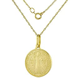 Dainty 14k Yellow Gold St Benedict Medal Necklace 5 8 Inch Round 18 Inch Chain Italy