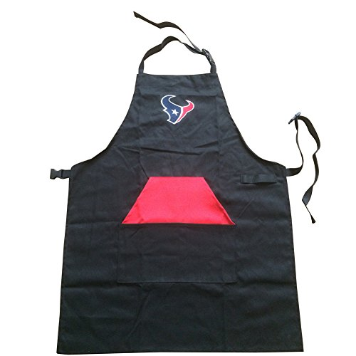 ENJOY 11 Adjustable NFL Professional Grade Chef Apron for Kitchen, BBQ, and Grill (Black) with Towel Loop (Houston Texans) - Houston Texans Apron