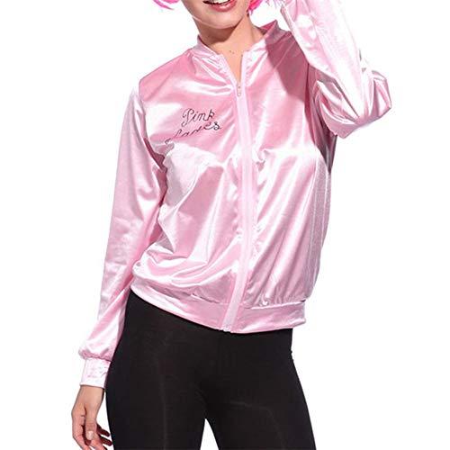CJY Ladies Teen Women 50s Grease 50s t Bird Danny Pink Stain Jacket Halloween Dance Costume S-XL Pink -