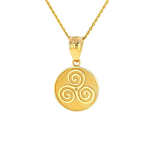 Solid 10k Yellow Gold Celtic Triple Spiral Triskele Round Pendant Necklace, 16