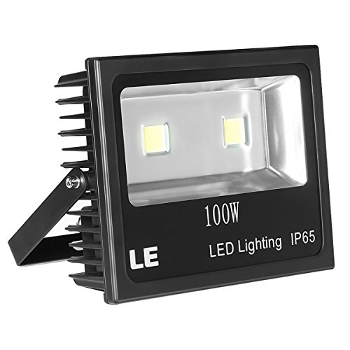 100w Flood - LE Outdoor LED Flood Light, 100W 10150LM, IP65 Waterproof, 250W HPS Bulb Equivalent, Daylight White 6000K, 120° Beam Angle, Security Light for Home, Backyard, Patio, Garden and More