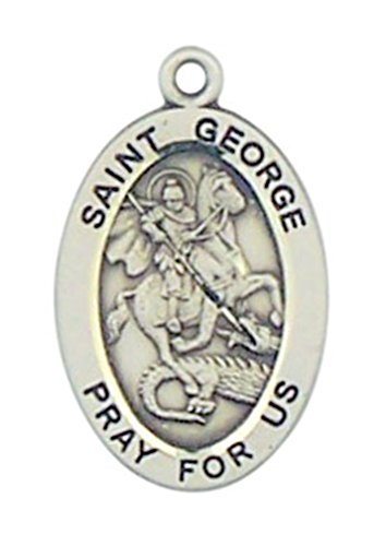 - Sterling Silver Patron Saint George Oval Medal Pendant, 7/8 Inch