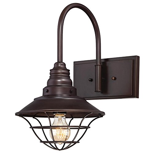 Westinghouse 6102800 Industrial One-Light Interior Wall Fixture with Metal Lantern Shade, Oil Rubbed Bronze Finish (Wall Vintage Bronze Lantern)